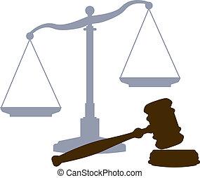 tribunal, escalas, sistema de la justicia, legal, símbolos, martillo