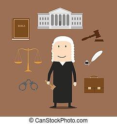 tribunal, iconos, justicia, juez