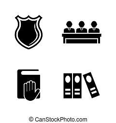 tribunal, iconos, simple, justicia, relacionado, vector, ley, judge.