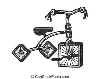 triciclo infantil con ruedas cuadradas dibujando ilustración vectorial. Imitación estilo tabla rascar. Imágenes dibujadas a mano.
