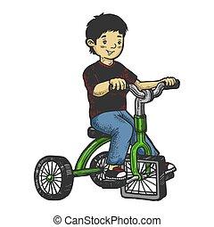 triciclo, rasguño, tabla, niño, bosquejo, color, mano, cuadrado, ruedas, image., illustration., niños, imitation., dibujado, vector, estilo, grabado, niño