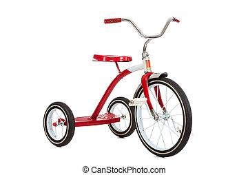triciclo rojo en blanco