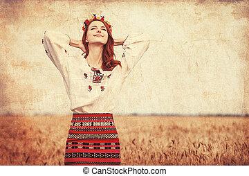 trigo, ucranio, nacional, field., pelirrojo, niña, ropa