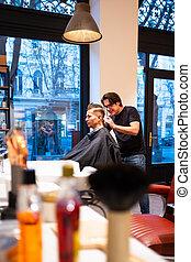 trims, maquinilla de afeitar, pelo, hombre, peluquero, joven