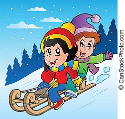 trineo, niños, escena del invierno