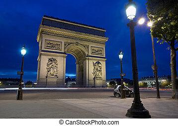 triomphe, charles, de, parís, francia, gaulle, arco, lugar