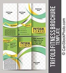 Triple fitness folleto plantilla de diseño vector ilustración