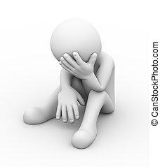 triste, deprimido, 3d, persona