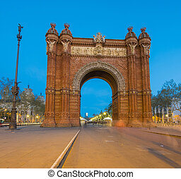 triunfo, arco, anochecer, barcelona
