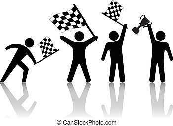 trofeo, a cuadros, gente, símbolo, onda, bandera, victoria, asimiento