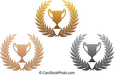 trofeo, coronas, dorado, laurel, plata, bronce