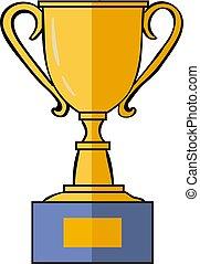 trofeo de oro, blanco, fondo., vector, ilustración