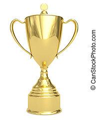 trofeo, dorado, taza blanca