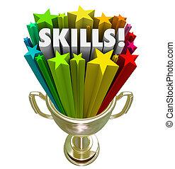 trofeo, oro, habilidades, experiencia, skillset, demanda, mejor