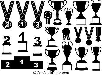 Trofeos y medallas puestas