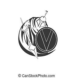 trojan, spartan, camisa, mascota, diseño, impresión, silueta, ilustración, t