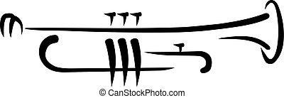 trompeta, caligraphy, estilo