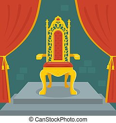 Trono dorado con terciopelo rojo. Reino de hadas.