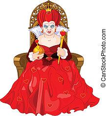 trono, enojado, reina