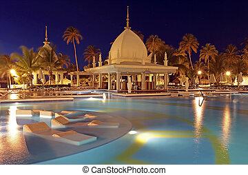 tropical, aruba, caribe, noche, piscina