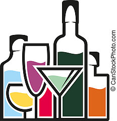 tropical, cócteles, botellas, alcohol