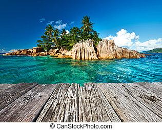 tropical, hermoso, isla
