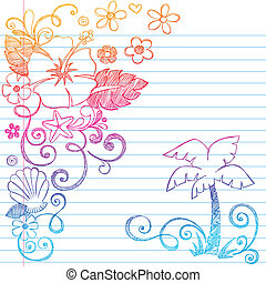 tropical, hibisco, hand-drawn, flor