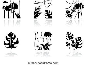 tropical, jungle., nature., ilustraciones, bali, sombra, suizo, plant., árbol hoja perenne, bosque negro, glyph, rainforest, queso, plantas, gota, vines., vector, explorar, descubrir, aislado, set., indonesio, iconos, flora.