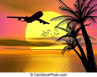 tropical, ocaso, avión.