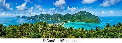 tropical, panorama, isla
