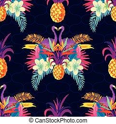 tropical, patrón, vívido, seamless