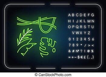 tropical, señal, encendido, neón, viaje, jungle., icon., ilustración, suizo, plant., árbol hoja perenne, alfabeto, symbols., bosque, rainforest, queso, plantas, vines., vector, explorar, aislado, luz, indonesio, flora.