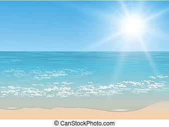 tropical, vector, sea.