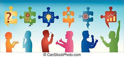 Trozos de rompecabezas con símbolos de resolver problemas. Gente de perfil color gestando. Solución de negocios. Concepto el equipo de resolución de problemas. Estrategia y éxito. Servicio al cliente. Trasfondo azul