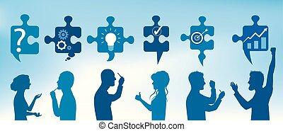 Trozos de rompecabezas con símbolos de solución a problemas con gente de perfil que gesticula. Solución de negocios. Concepto el equipo de resolución de problemas. Estrategia y éxito. Servicio al cliente. Color azul