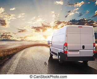 truck., transporte, interpretación, 3d