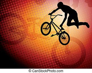 truco, bmx, ciclista
