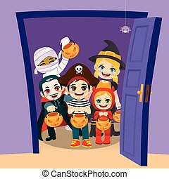 Truco de Halloween o trato a los niños