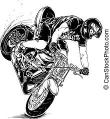 truco, motocicleta, hombre