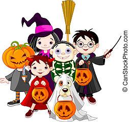 truco, o, halloween, childr, convidar