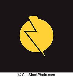 trueno, logotipo, vector, simple, resumen