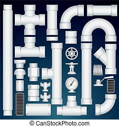 tubería, customizable, parts., kit, pvc, vector