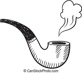 tubo, bosquejo, tabaco