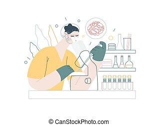 tubo médico, vector, -, bebé, moderno, seguro, illustration., plano, prueba