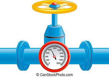 tubo, presión, válvula, gas, metro