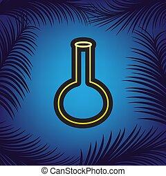 Tubo. Señal de vidrio del laboratorio. Vector. Un icono dorado con un punto negro