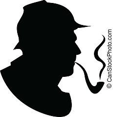 tubo, vector, silueta, fumador