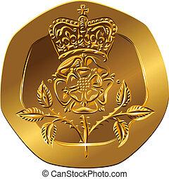 tudor, flor, (rosa, revés, oro, england), dinero, pences, -, veinte, británico, coronado, rosa, emblema, moneda, imagen
