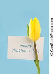 Tulipán amarillo con una tarjeta de la madre feliz en un fondo azul