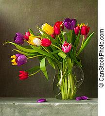 tulipanes, colorido, naturaleza muerta